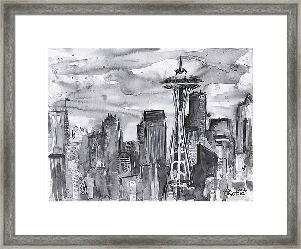 Seattle Skyline Space Needle Framed Print