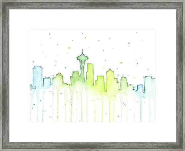 Seattle Skyline Watercolor  Framed Print