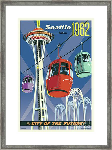 Seattle Poster- Space Needle Vintage Style Framed Print