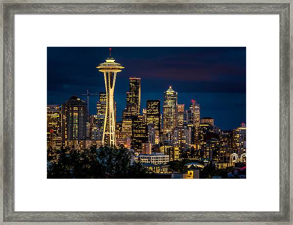 Seattle Space Needle After Dark Framed Print