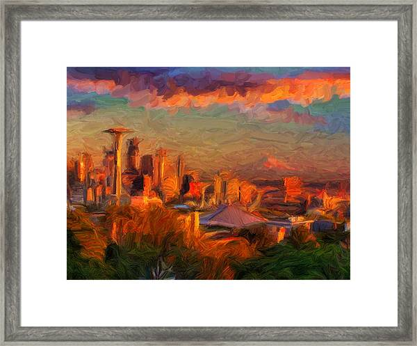 Seattle Sunset 1 Framed Print
