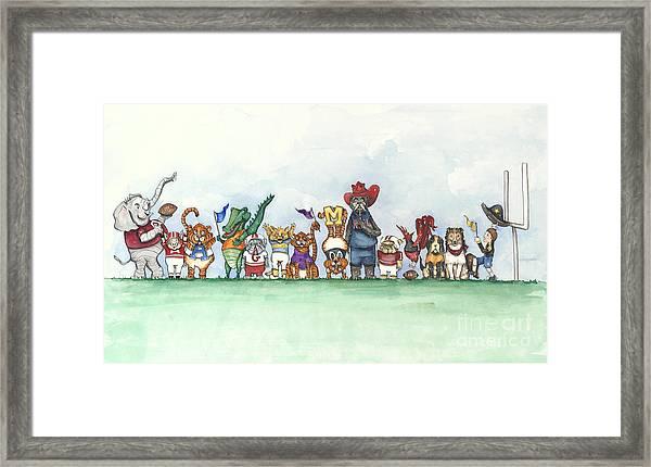 Sec Football Mascots - Sports Watercolor Print Framed Print