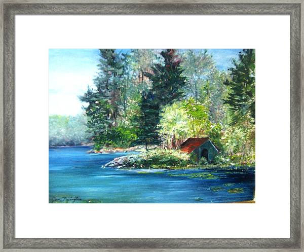 Secluded Boathouse-millsite Lake  Framed Print
