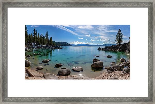 Secret Cove Aquas By Brad Scott Framed Print
