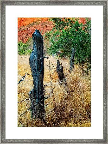 Sedona Fence And Field Framed Print