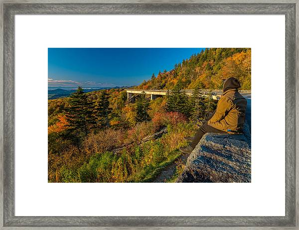 Seize The Day At Linn Cove Viaduct Autumn Framed Print