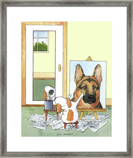 Self Portrait, German Shepherd Framed Print