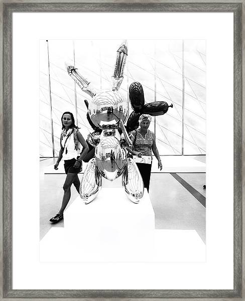 Self Portrait In Jeff Koons Mylar Rabbit Balloon Sculpture Framed Print