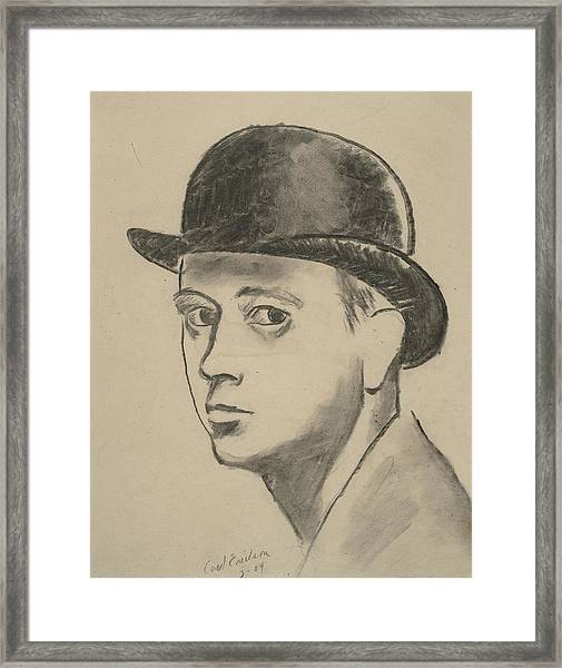 Self-portrait Sketch Of Carl Erickson Framed Print by Carl Oscar August Erickson