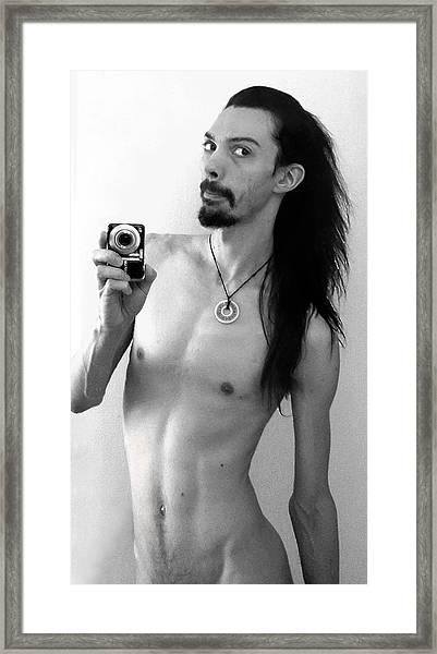 Self Portrait The Mirror Bw Framed Print