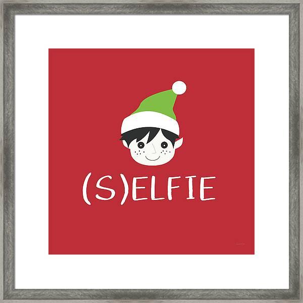 Selfie Elf- Art By Linda Woods Framed Print