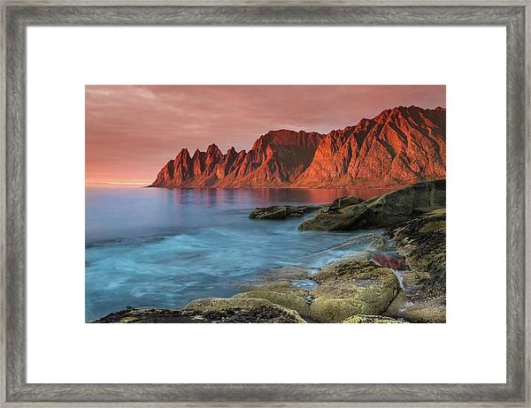 Senja Red Framed Print