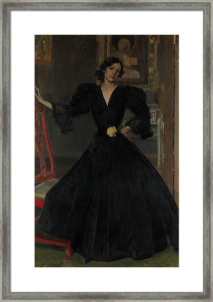 Senora De Sorolla In Black Framed Print