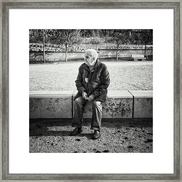 Señor With His Leaf #blackandwhite Framed Print