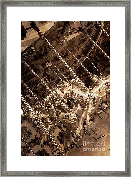 Sepia Carousel Horse Framed Print