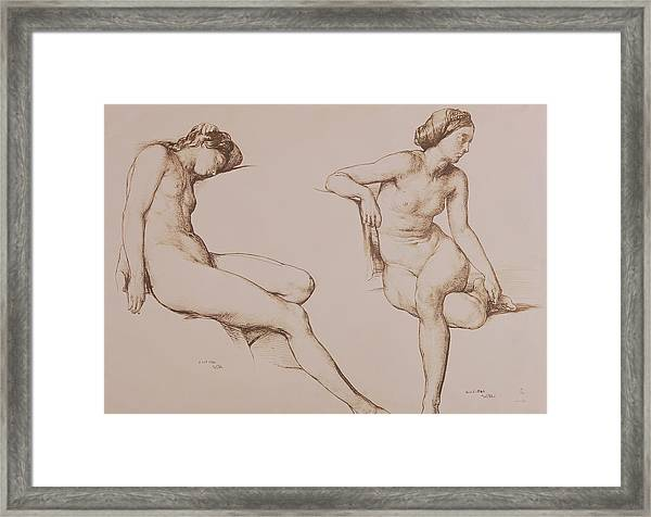 Sepia Drawing Of Nude Woman Framed Print
