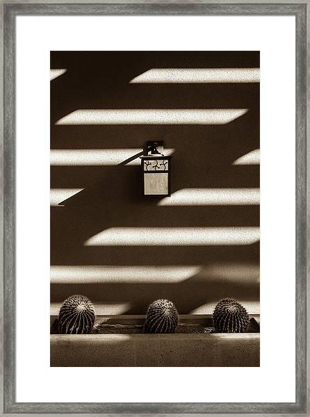 Sepia Stucco Shadows Framed Print