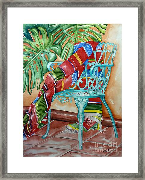 Serape On Wrought Iron Chair II Framed Print