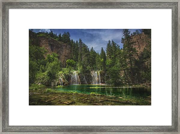 Serene Hanging Lake Waterfalls Framed Print
