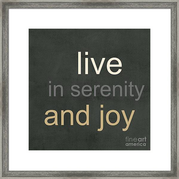 Serenity And Joy Framed Print