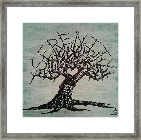 Framed Print featuring the drawing Serenity Love Tree by Aaron Bombalicki