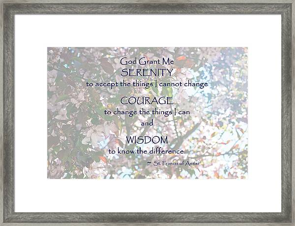 Serenity Prayer Framed Print by Edward Congdon