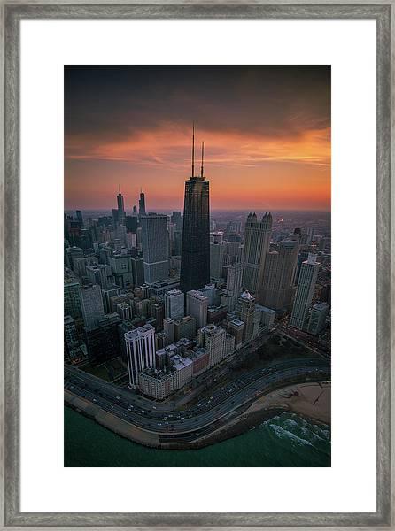 Setting On Chicago Framed Print
