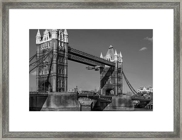 Seven Seconds - The Tower Bridge Hawker Hunter Incident Bw Versio Framed Print