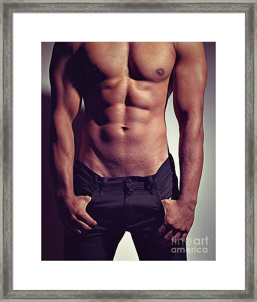 Sexy Male Muscular Body Framed Print
