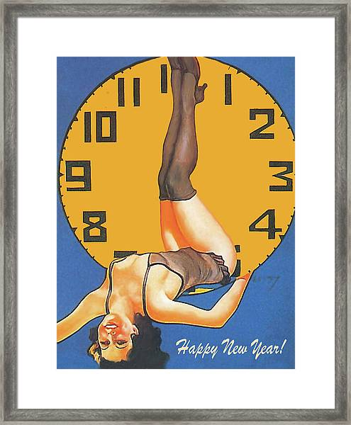 Sexy Pin Up Girl Showing  The Exact Time With Her Beautiful Legs, Happy New Year Framed Print