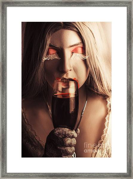 Sexy Vampire Girl With Holding Glass Of Blood Framed Print