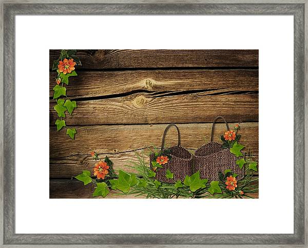 Shabby Chic Flowers In Rustic Basket Framed Print