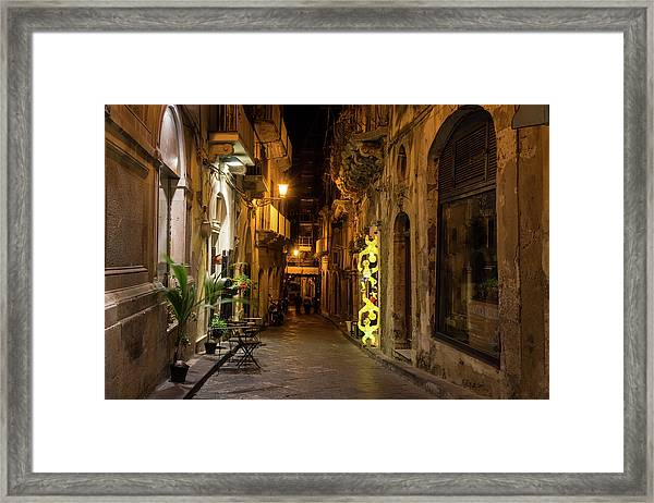 Shabby Chic - Small Street Night Walk In Syracuse Sicily Framed Print