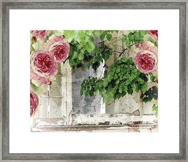Shabby Cottage Window Framed Print