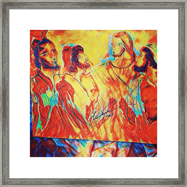 Shadrach, Meshach And Abednego In The Fire With Jesus Framed Print
