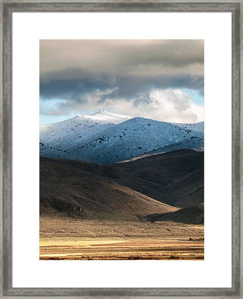 Shaffer With Snow Framed Print by The Couso Collection