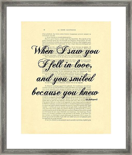 Shakespeare Quote Framed Print