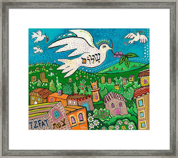 Shalom Over Tzfat Framed Print