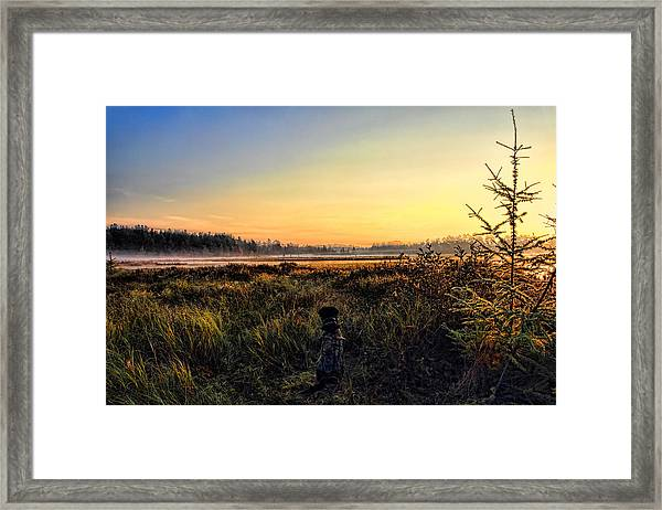 Sharing A September Sunrise With A Retriever Framed Print