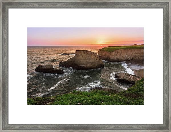 Shark Fin Cove Sunset Framed Print