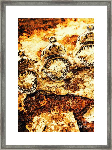 Shark Pendants On Rusty Marine Background Framed Print