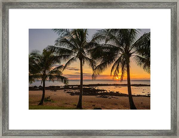 Sharks Cove Sunset 4 - Oahu Hawaii Framed Print