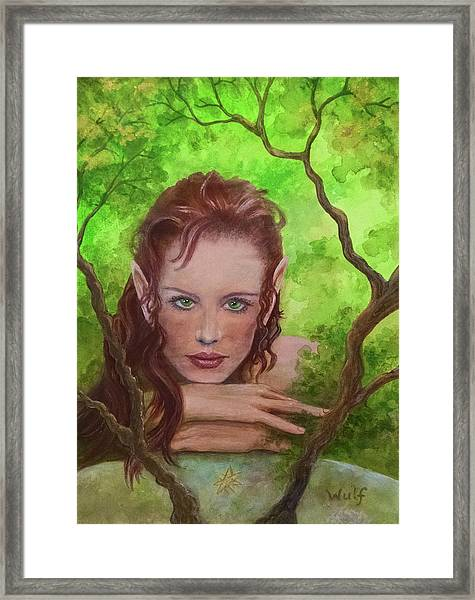 She Watches Through The Veil Framed Print