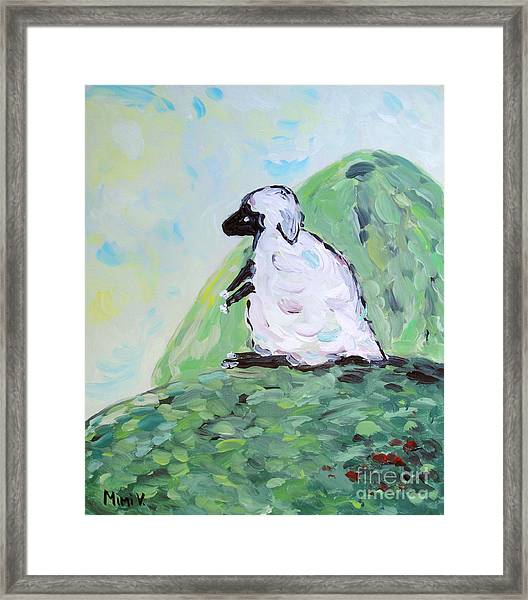 Sheep On A Hill Framed Print