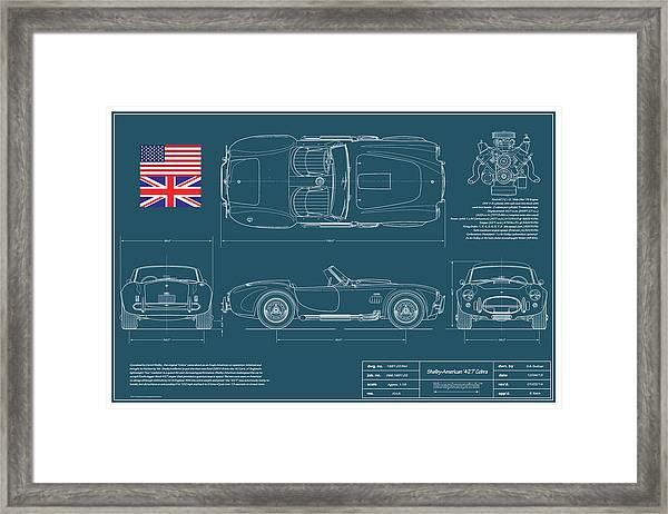 Shelby American 427 Cobra Blueplanprint Framed Print