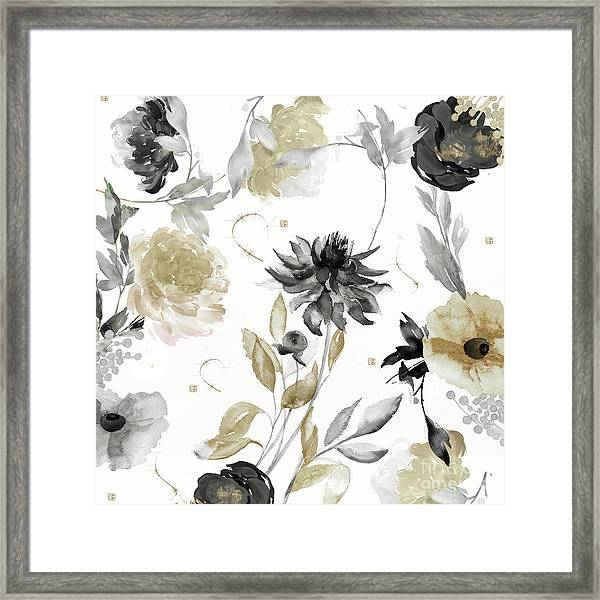 Shelby Gold And Black Framed Print