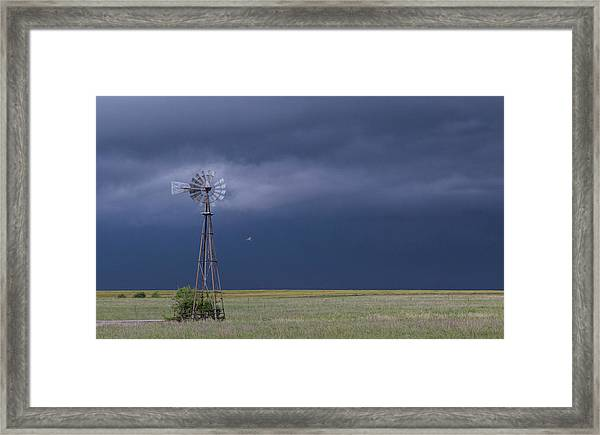 Shelf Cloud And Windmill -02 Framed Print