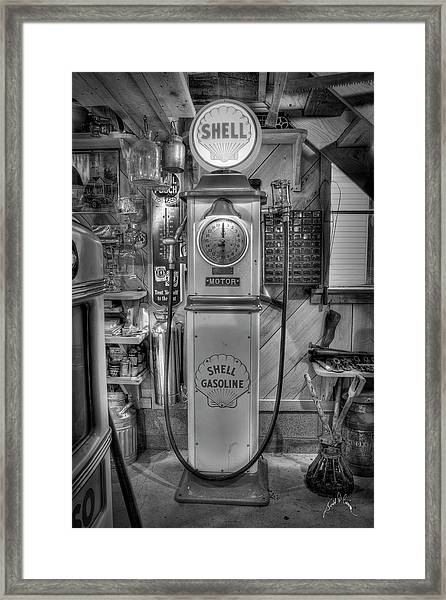 Framed Print featuring the photograph Shell Gas Pump by Williams-Cairns Photography LLC
