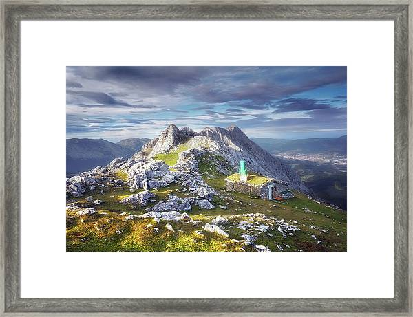 Shelter In The Top Of Urkiola Mountains Framed Print