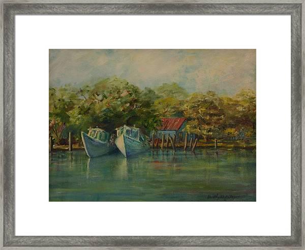 Shem Creek Boats Framed Print